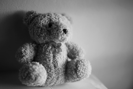 lovelorn: Teddy bear  in room black and white