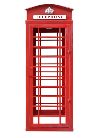 telephone booth: Old Red Telephone Booth Stock Photo
