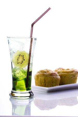 drinks in glasses  and ice isolated Lizenzfreie Bilder