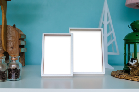 blank photo: Photo frame on wooden table.