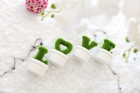 Die grünen Buchstaben auf weißem Tisch