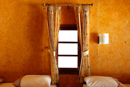 The bedrooms are decorated with wood