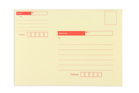 Umschlag mit Fenster, isoliert auf weißem Hintergrund Lizenzfreie Bilder