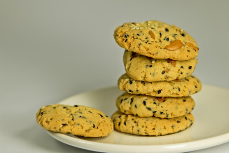 Cookies with sesame with almond photo