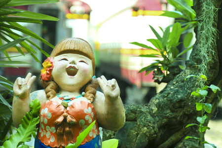 chubby girl: Fatty woman figure be happy in the park at Hua Lum Phong. Stock Photo