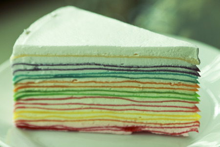 Rainbow crepe cake. photo