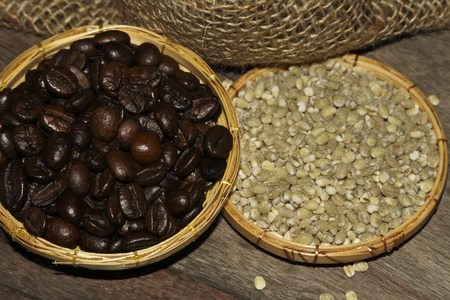 whole grains: Coffee beans and whole grains for decoration.