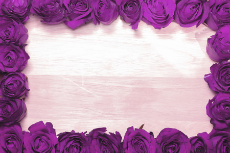 Purple rose decorted on wooden.