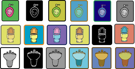 The flat drawing icon bidet, sink and toilet