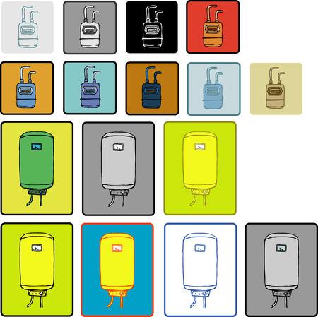 meter box: La caldera icono dibujo plano de agua caliente y medidor de gas