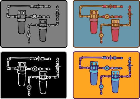 meter box: El sistema de tuber�as de dibujo plano incluido caja del medidor y tubos Vectores