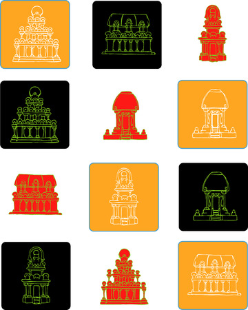 India flat icon set - color  Ancient temple in Mahabalipuram complex  Stock Vector - 30879274
