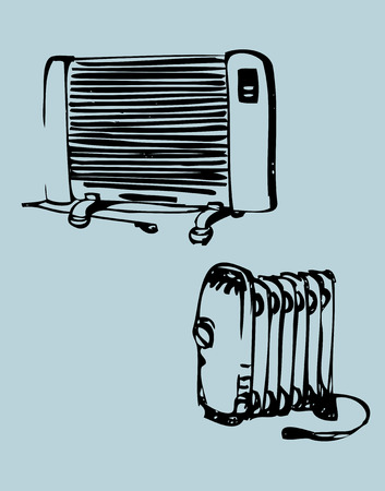 calorifer: These sketches of the heating equipment will be a wonderful addition to your brochures, business cards or website
