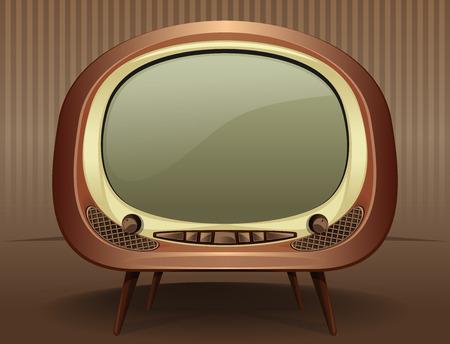 Vintage TV. Televisión de la vendimia en el estilo de los años 50 - 60 años. TV vieja. Vector retro de la TV en un fondo de la vendimia.