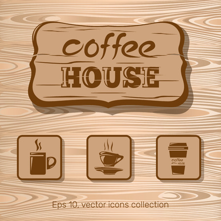 cofee: Cofee house, icon collection on a wooden background. Vector illustration