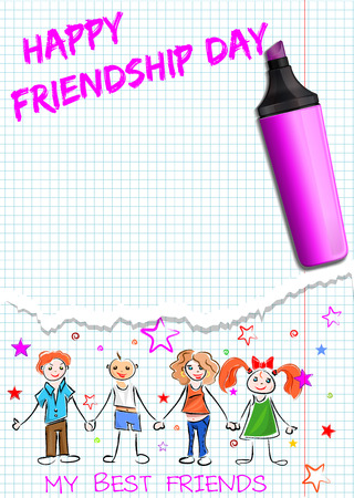 friendship day: Greeting card for International Friendship Day. Happy people holding hands and inscription in a school notebook - HAPPY FRIENDSHIP DAY, MY BEST FRIENDS. Vector illustration