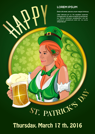 Beautiful Irish girl with a beer glass in hand. Invitation to the green party. Vector poster for St. Patricks Day. Pretty irish woman. Hibernian. Cute Irish girl. Red-haired girl in a leprechaun hat. Illustration