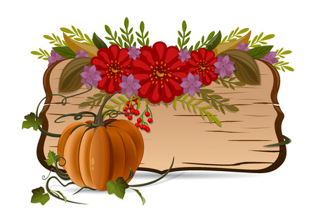 still life flowers: Autumn still life with pumpkin, flowers and vintage wooden board with blank space for text. Vector illustration isolated on white background Illustration