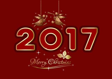 メリー クリスマス 2017。クリスマスのグリーティング カード。クリスマスのクリスマスの天使と赤の背景に金文字ロゴデザインします。ベクトル図