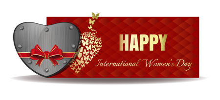 Iron heart tied with red ribbon on the background of a greeting card. Gold greeting inscription on an abstract red background. Happy International Womens Day. Vector Womens Day .