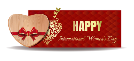 Wooden heart tied with red ribbon on the background of a greeting card. Gold greeting inscription on an abstract red background. Happy International Womens Day. Womens Day card template.