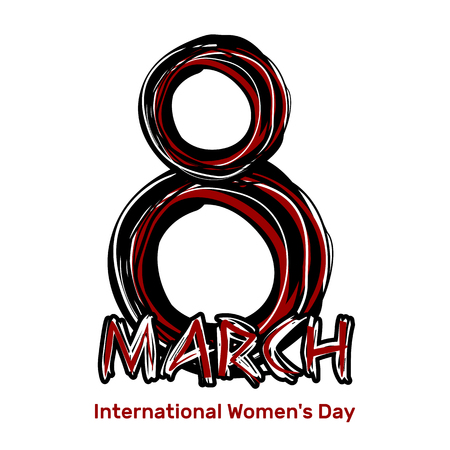 March 8. Hand drawn scribble lettering. International Womens Day. Black and red sloppy inscription on a white background. design element, illustration