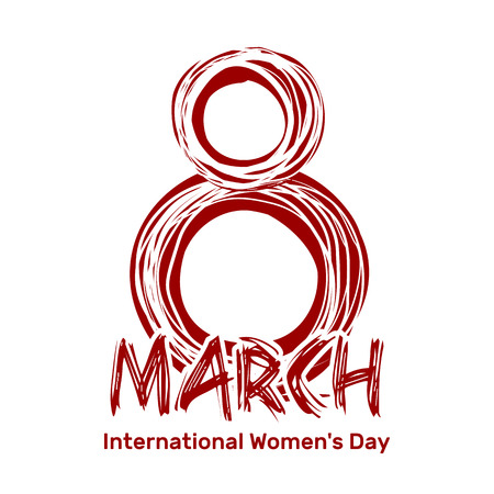 March 8. International Womens Day. Hand drawn scribble lettering. Red sloppy inscription isolated on a white background. Design element for Womens Day Illustration