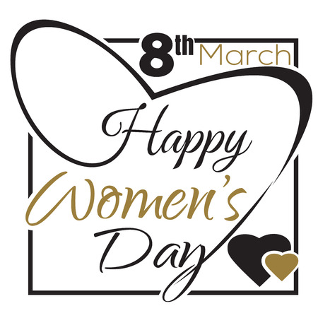 cadre: International Womens Day. 8 th March. Typographic design. Vector black and gold lettering. Happy Womens Day lettering card Illustration