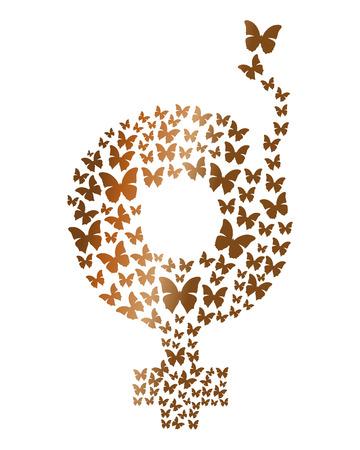 female symbol: Gold gender symbol consisting of flying butterflies. Gender symbol icon. Gender female symbol. Design element for celebration of the International Womens Day. Vector illustration Illustration