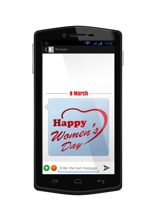 woman cellphone: Realistic smartphone with the screen on isolated on white background. Mobile phone with the included screen with congratulations with the Womens Day. SMS-message to the 8 March. Vector illustration