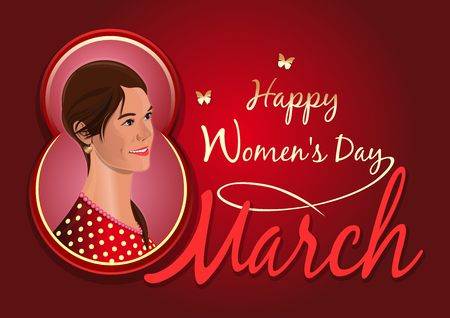Greeting card for the International Womens Day. Postcard with a beautiful girl. Cute girl on the background of congratulations on the 8th March. Womens day design Illustration