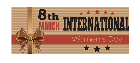 outmoded: International Womens Day. Retro Style greeting card. 8th March. Vector vintage flyer template for Womens Day