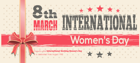 womens work: International Womens Day card. Celebrate the Power of Women on 8th March. Retro background for 8 March. Vector vintage template flyer for Womens Day Illustration