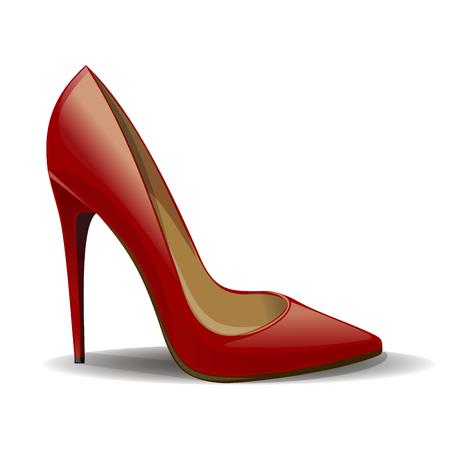 Rote Frauenschuhe der Karikatur lokalisiert auf weißem Hintergrund. Realistische weibliche Schuhe. Vektor-Illustration Vektorgrafik