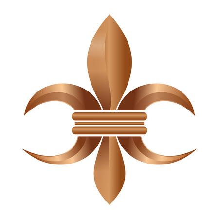 Golden Fleur-de-lis or flower-de-luce isolated on white background Illustration