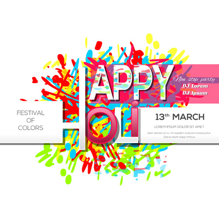13th: Holi festival - 2017. 13th March. Invitation poster. Happy Holi. Indian festival of colors and spring. Vector illustration