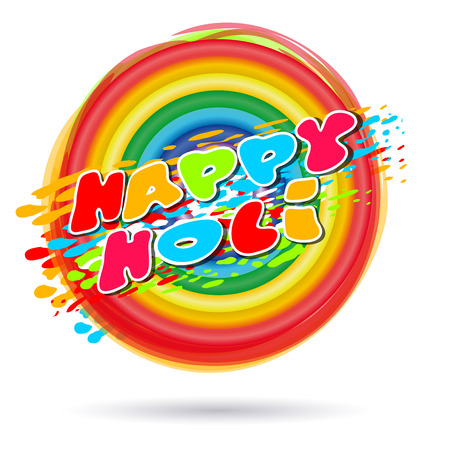 hindus: Rings painted in colors of the rainbow. Happy Holi. Rainbow colored ring isolated on white background.  Illustration of holi background with greeting inscription - Happy Holi. Vector illustration Illustration