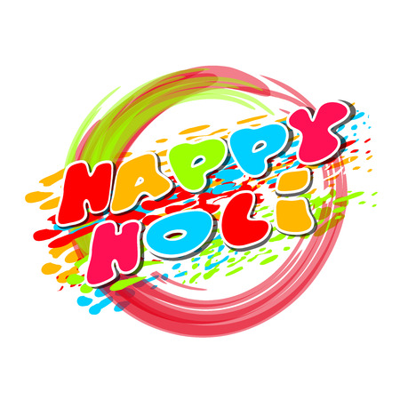 gulal: Rings painted in colors of the rainbow. Happy Holi. Rainbow colored ring isolated on white background.  Illustration of holi background with greeting inscription - Happy Holi. Vector illustration Illustration