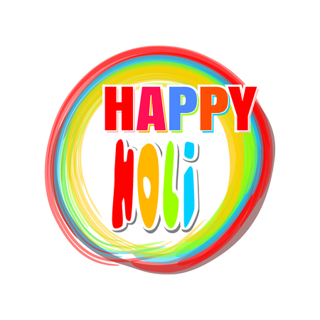 pichkari: Colorful round banner for the Indian festival of colors with greeting inscription - Happy Holi. Holi lettering card. Vector illustration Illustration