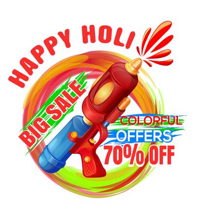 Promotional background with pichkari for Holi festival. Big sale. Colorful offers. Best Holi Pichkari guns gulaal for happy Holi. Vector editable illustration Illustration