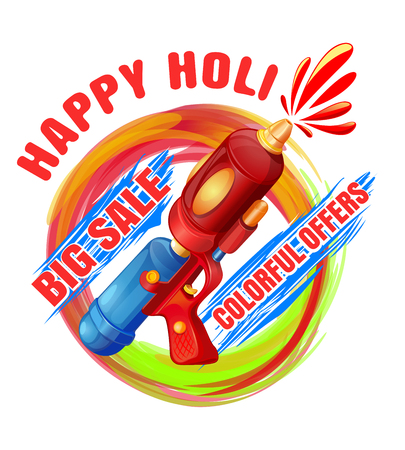 Happy Holi. Big Sale. Colorful offers. Best Holi pichkari guns gulaal for annual festival of color and spring Holi. Vector illustration Illustration