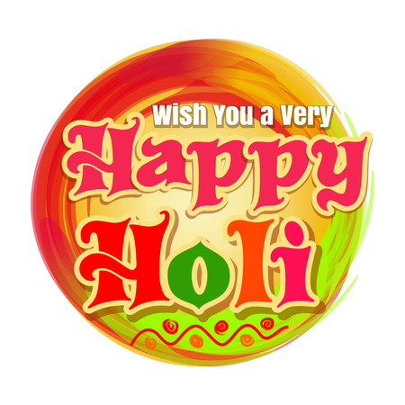 pichkari: Happy Holi. Indian spring festival of colors. Vector celebrations colourful banner isolated on white background. Wish you a very Happy Holi. Colors festival logo Illustration
