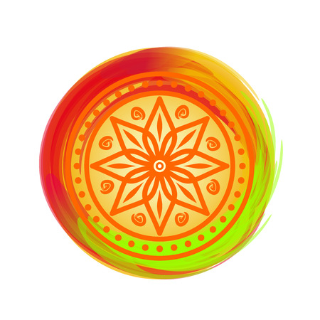 Beautiful colorful mandala. Design element for festival of colors, Happy Holi. Circular pattern in Indian style. Eight pointed star on the bright multicolored background.  Lotus. Vector illustration Illustration