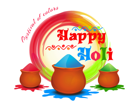 Happy Holi. Festival of colors. Vector illustration with powder color, colorful gulal. Holi colour powder. Happy Holi background