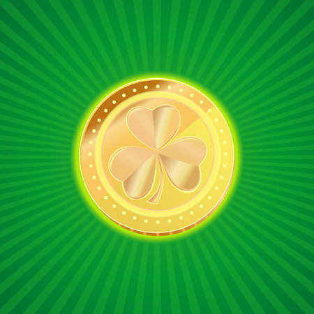 Gold coin with the image of shamrock clover on a vintage background. Element of design for St. Patricks Day. Gold leprechaun. St. Patricks day symbol. Vector illustration.