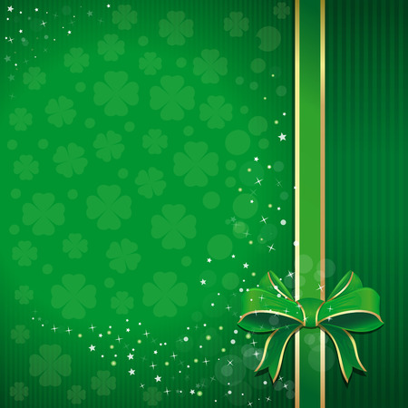 leafed: Green festive background with ribbon, bow and leafed clover for St. Patricks Day. St. Patricks Day background with free space for text. Template for creating flyers, leaflets, banners, posters.