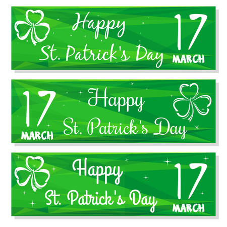 march 17: Set banners with three leaved shamrock symbols. Kit backgrounds with congratulations on St. Patricks Day. 17 March. Happy St. Patricks Day. Vector greeting cards, banners for St. Patricks Day Illustration