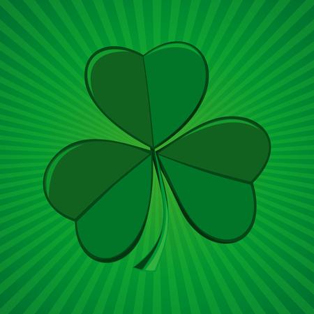 threeleaf: Clover on green retro background. Shamrock, trifoliate clover - symbol of Ireland. Symbol of the celebration of St. Patricks Day. Vector illustration