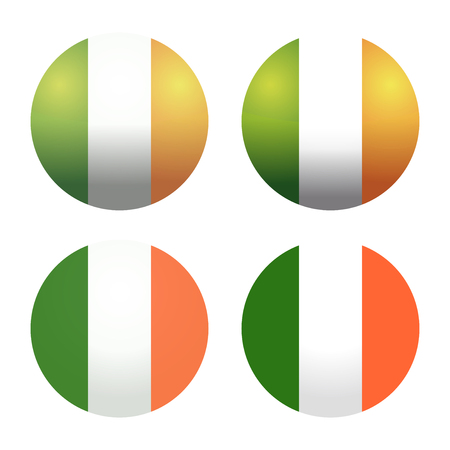 tricolors: Set round Irish flags. Round Ireland flags. Ireland flag button. Flags of Ireland as round glossy icon. Buttons with Irish flag. Vector Irish flags isolated on white background