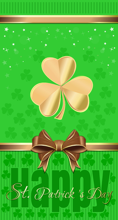 Green festive background with clover and gold ribbon and bow. Template flyer for St. Patricks Day. Vector background for St. Patricks Day Illustration